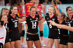 06.09.2013, Gery Weber Stadion, Halle, GER, Volleyball EM 2013, Deutschland vs Spanien, im Bild,, Jubel Lenka Duerr (#1 GER), Maren Brinker (#4 GER), Christiane Fuerst (#11 GER), Margareta Kozuch (#14 GER), Jennifer Geerties (#6 GER), Kathleen Weiss (#2 GER), Corina Ssuschke-Voigt (#9 GER) // during the volleyball european championchip match between Germany and Spain at the Gery Weber Stadion in Halle, Germany on 2013/09/06. EXPA Pictures © 2013, PhotoCredit: EXPA/ Eibner/ Kurth<br /> <br /> ***** ATTENTION - OUT OF GER *****