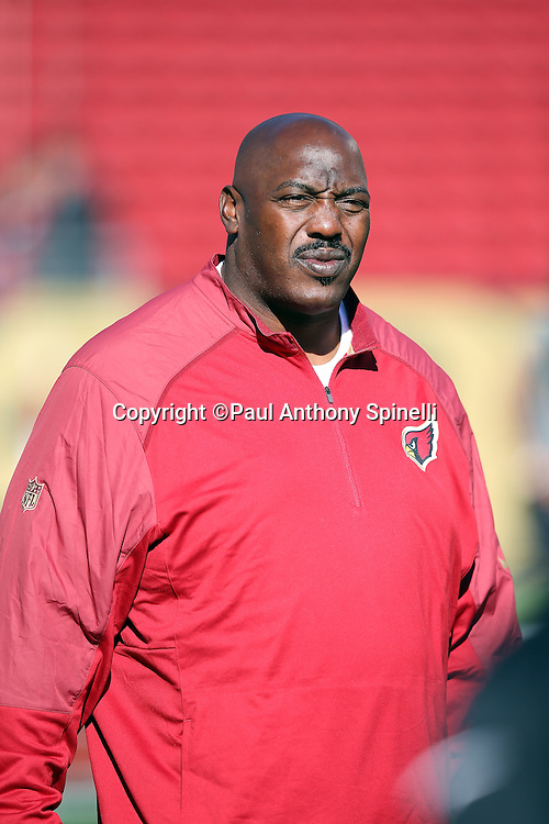 Arizona Cardinals running backs coach Stump Mitchell looks on during pregame warmups before the 2015 week 12 regular season NFL football game against the San Francisco 49ers on Sunday, Nov. 29, 2015 in Santa Clara, Calif. The Cardinals won the game 19-13. (©Paul Anthony Spinelli)