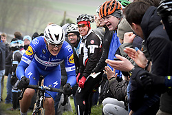 March 23, 2018 - Harelbeke, BELGIUM - Belgian Yves Lampaert of Quick-Step Floors is cheered by supporters during the 61st edition of the 'E3 Prijs Vlaanderen Harelbeke' cycling race, 206,5 km from and to Harelbeke, Friday 23 March 2018. BELGA PHOTO DIRK WAEM (Credit Image: © Dirk Waem/Belga via ZUMA Press)