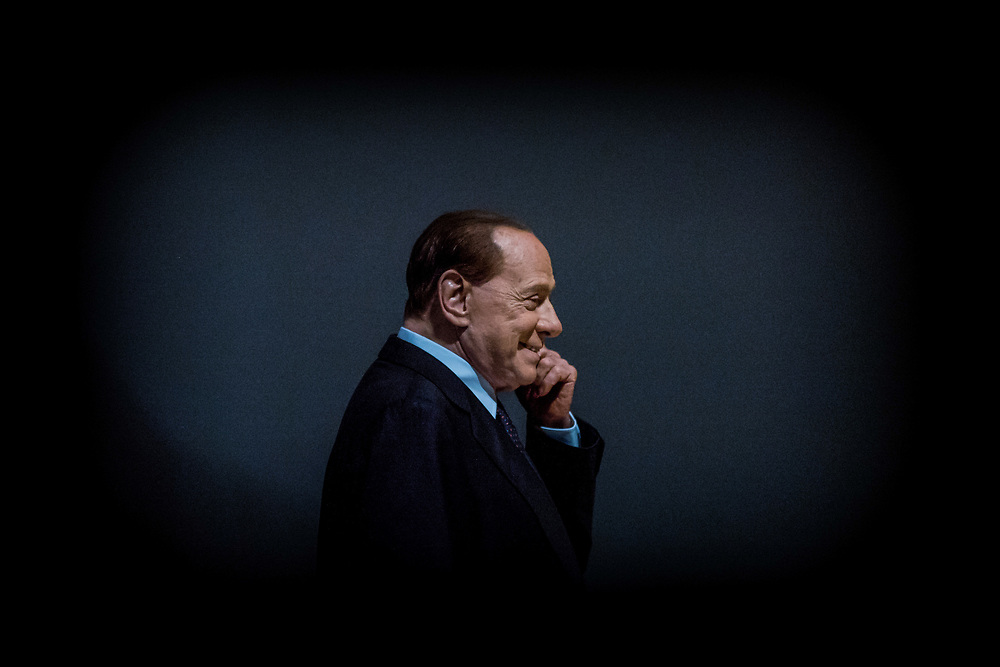 Milan, Italy -  10-10-2015: Former prime minister of Italy and President of the political party 'Forza Italia', Silvio Berlusconi, arrives at a public meeting at Teatro Dal Verme.