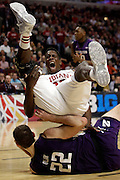 Indiana forward Hanner Mosquera-Perea (12) after being injured as  Northwestern played Indiana in an NCCA college basketball game during the second round of the Big Ten Conference tournament in Chicago, Thursday, March 12, 2015.