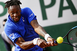 May 30, 2019 - Paris, France - Gael Monfils of France plays a backhand during his mens singles second round match against Adrian Mannarino of France during Day five of the 2019 French Open at Roland Garros on May 30, 2019 in Paris, France. (Credit Image: © Ibrahim Ezzat/NurPhoto via ZUMA Press)