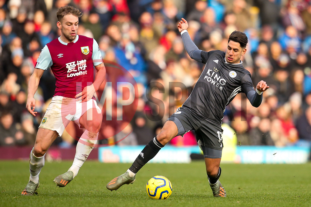 Ayoze Perez of Leicester City takes on Charlie Taylor of Burnley - Mandatory by-line: Robbie Stephenson/JMP - 19/01/2020 - FOOTBALL - Turf Moor - Burnley, England - Burnley v Leicester City - Premier League