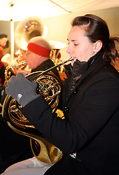 First year medical student at the University of Louisvile Emily Brand from Alexandria, MN, plays the french horn with the University of Louisville Community Band. (By Jonathan Palmer, Special to The Courier-Journal) December 6, 2008
