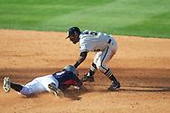 Ole Miss' Will Jamison is tagged out vs. Vanderbilt's Tony Kemp (6) at Oxford-University Stadium Stadium in Oxford, Miss. on Saturday, April 6, 2013. Vanderbilt won 2-1.