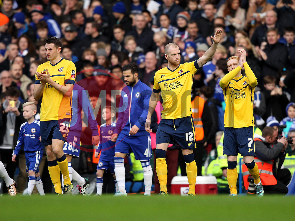Neil Bishop of Scunthorpe United waves to the fans as the players enter the pitch for the FA Cup tie - Mandatory byline: Robbie Stephenson/JMP - 10/01/2016 - FOOTBALL - Stamford Bridge - London, England - Chelsea v Scunthrope United - FA Cup Third Round
