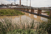 Diversion dam on Rio Grande at El Paso, TX sends river into border and irrigation canals.