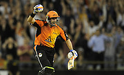 16/01/2013 SPORT: BIG BASH LEAGUE- Perth Scorchers v Melbourne Stars, semi final, at The Furnace (WACA). PICTURED- The Perth Scorchers Mike Hussey celebrates the win against the Melbourne Stars.
