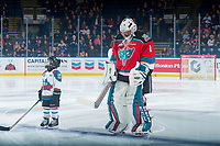 KELOWNA, CANADA - NOVEMBER 17: The Pepsi player of the game lines up on the blue line next to James Porter #1 of the Kelowna Rockets against the Lethbridge Hurricanes on November 17, 2017 at Prospera Place in Kelowna, British Columbia, Canada.  (Photo by Marissa Baecker/Shoot the Breeze)  *** Local Caption ***