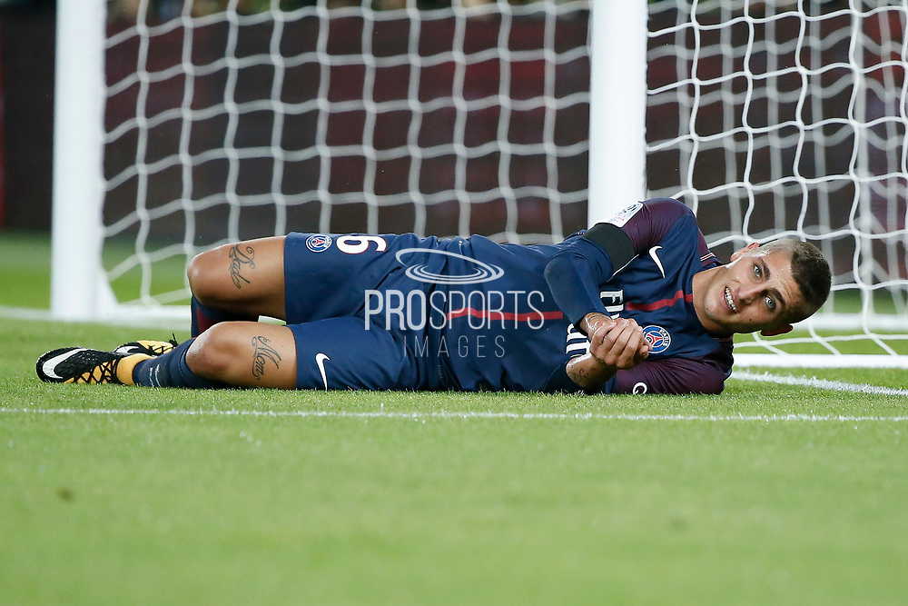 Marco Verratti (psg) on the floor during the French championship L1 football match between Paris Saint-Germain (PSG) and Toulouse Football Club, on August 20, 2017, at Parc des Princes, in Paris, France - Photo Stephane Allaman / ProSportsImages / DPPI
