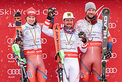 18.03.2018, Aare, SWE, FIS Weltcup Ski Alpin, Finale, Aare, Gesamt Weltcup, Herren, Siegerehrung, im Bild v.l. Henrik Kristoffersen (NOR, Gesamt Weltcup 2. Platz, Slalom Weltcup 2. Platz, Rieseslalom Weltcup 2. Platz), Marcel Hirscher (AUT, Gesamt Weltcup 1. Platz und Slalom Weltcup 1. Platz), Axel Lund Svindal (NOR, Gesamt Weltcup 3. Platz) // f.l. Overall World Cup second placed Giant Slalom World Cup second placed and Slalom World Cup second placed Henrik Kristoffersen of Norway Overall World Cup winner Slalom World Cup winner and Giant Slalom World Cup winner Marcel Hirscher of Austria Overall World Cup third placed Axel Lund Svindal of Norway during the allover winner Ceremony for the men's Worlcup of FIS Ski Alpine World Cup finals in Aare, Sweden on 2018/03/18. EXPA Pictures © 2018, PhotoCredit: EXPA/ Johann Groder