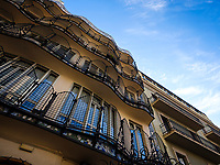 BARCELONA, SPAIN - CIRCA MAY 2018: View of Casa Batlló balconies from the interior patio., A famous building in the center of Barcelona designed by Antoni Gaudi.