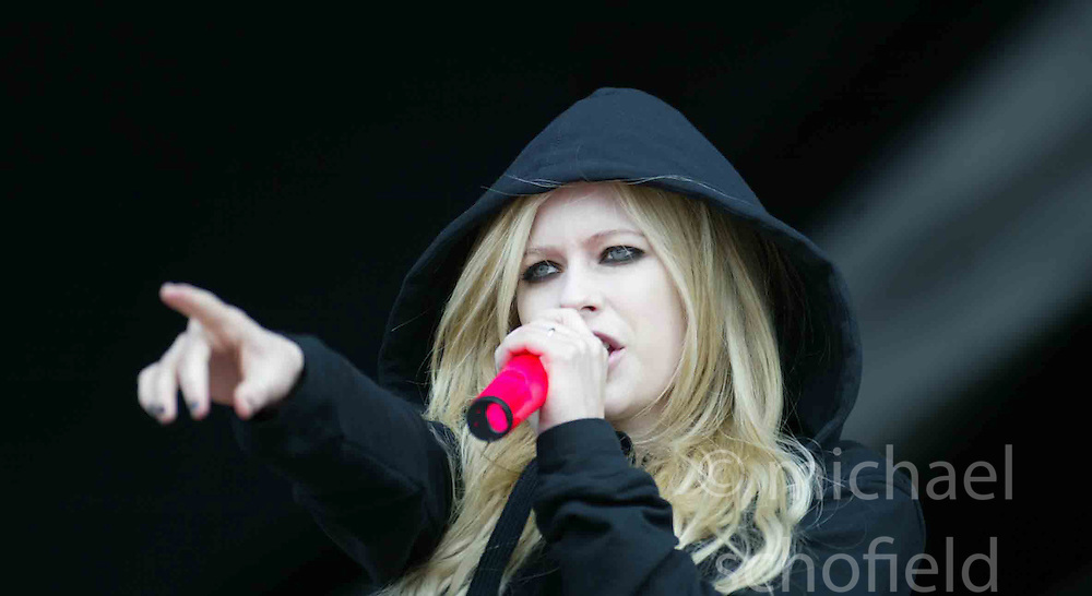 Avril Lavigne plays on the main stage at T in the Park Sunday 8 July 2007, at Balado, Fife...