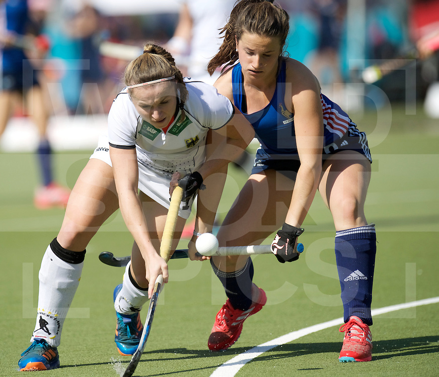 SANTIAGO - 2016 8th Women's Hockey Junior World Cup<br /> GER v FRA (Pool B)<br /> foto: Maxi Marquardt, defend by<br /> FFU PRESS AGENCY COPYRIGHT FRANK