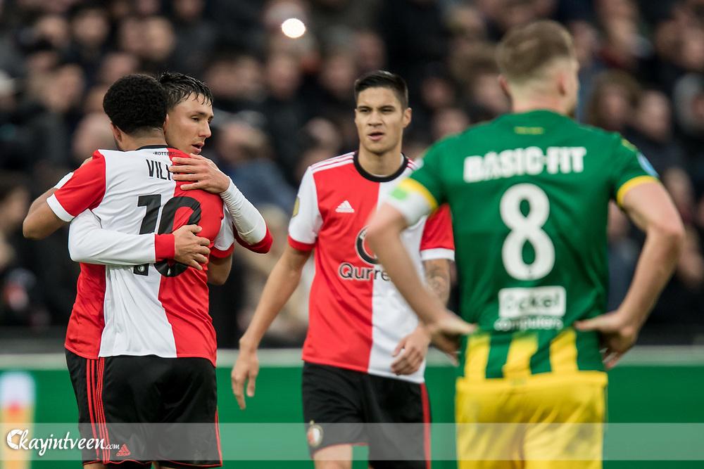 ROTTERDAM - Feyenoord - ADO Den Haag , Voetbal , Seizoen 2017/2018 , Eredivisie , Stadion Feijenoord de Kuip , 28-01-2018 , eindstand 3-1 , Feyenoord speler Steven Berghuis (2e l) viert zijn goal voor de 2-0 met Feyenoord speler Tonny Vilhena (l) terwijl ADO Den Haag speler Aaron Meijers (r) baalt
