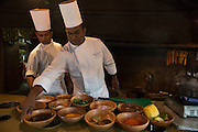 Sous Chef Sujith Arlyaratne prepares a pineapple, mango, honey and cinnamon curry at the Nugagama Restaurant at the Cinnamon Grand Hotel in central Colombo. The restaurant is renowned for its traditional 'village' Sri Lankan food with every dish using cinnamon in some degree.