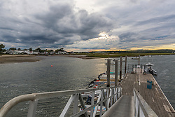 Storm clouds over the harbor at Pine Point in Scarborough, Maine.