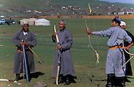 Mongolia. archery. naadam festival in  Khurjit        /  tir a l arc. naadam festival in   Khurjit  Mongolie