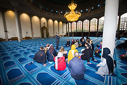 Regents Park Mosque, London, February 5th 2017. Dozens of curious non-Muslims are welcomed at Regent's Park Mosque in London as part of the Muslim Council of Britain's annual 'Visit My Mosque Day'. Visitors were able to observe prayers and we shown around the mosque by members, where there was a exhibition of the history and teachings of Islam. PICTURED: Visitors are seated in the men's prayer hall as the functioning of the Mosque.