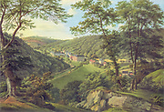 Historic painting of a View of Schlangenbad, Germany.  Gouache, by Anton Radl circa 1814