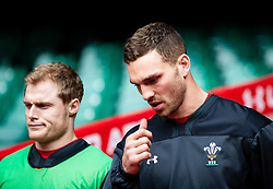 George North of Wales<br /> <br /> Photographer Simon King/Replay Images<br /> <br /> Six Nations Round 3 - Captains Run - Wales v England - Saturday 22nd February 2019 - Principality Stadium - Cardiff<br /> <br /> World Copyright © Replay Images . All rights reserved. info@replayimages.co.uk - http://replayimages.co.uk