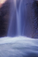 Small waterfall streams into pool, North Fork of the Virgin River, © 1990 David A. Ponton