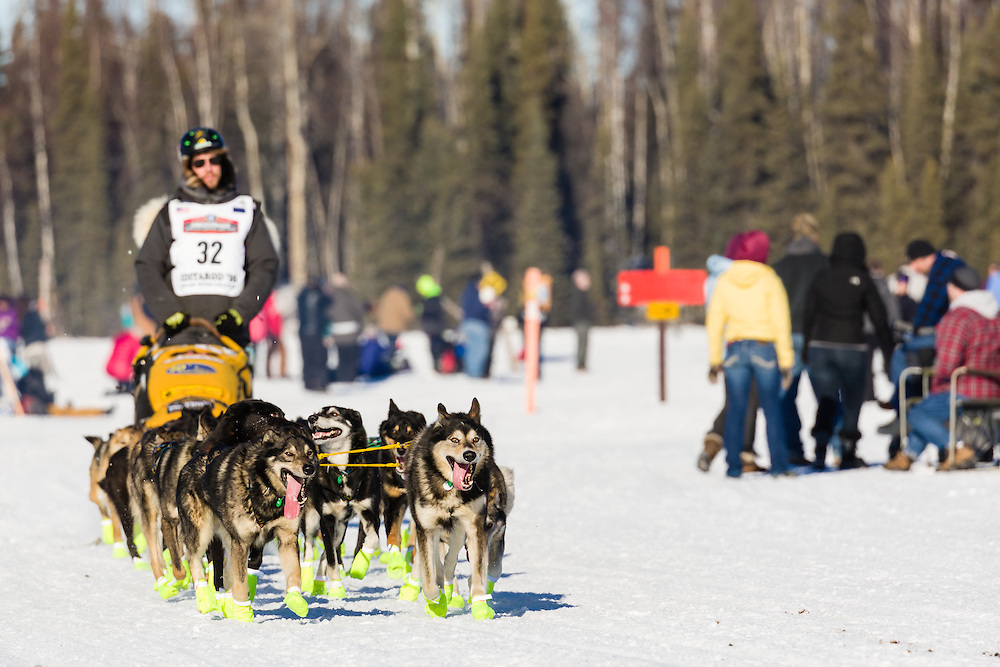 Musher Brent Sass competing in the 44th Iditarod Trail Sled Dog Race on Long Lake after leaving the restart on Willow Lake in Southcentral Alaska.  Afternoon. Winter.