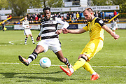 Forest Green Rovers Dale Bennett(6) chases down Southport's Neil Ashton(3) during the Vanarama National League match between Southport and Forest Green Rovers at the Merseyrail Community Stadium, Southport, United Kingdom on 17 April 2017. Photo by Shane Healey.
