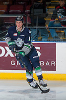 KELOWNA, CANADA - FEBRUARY 13: Tyler Adams #17 of the Seattle Thunderbirds warms up on the ice against the Kelowna Rockets on February 13, 2017 at Prospera Place in Kelowna, British Columbia, Canada.  (Photo by Marissa Baecker/Shoot the Breeze)  *** Local Caption ***