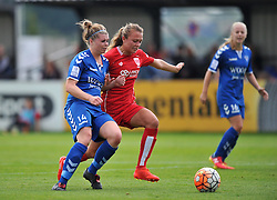 Claire Emslie of Bristol City Women battles with Becky Salicki of Durham Ladies - Mandatory by-line: Paul Knight/JMP - 24/09/2016 - FOOTBALL - Stoke Gifford Stadium - Bristol, England - Bristol City Women v Durham Ladies - FA Women's Super League 2