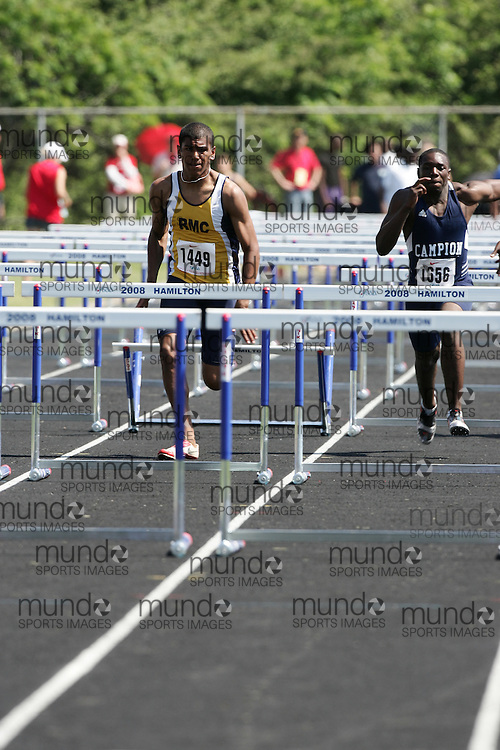 Hamilton, Ontario ---06/06/08--- Taylor Stewart of Regina Mundi College in London competes in the sprint hurdles at the 2008 OFSAA Track and Field meet in Hamilton, Ontario..
