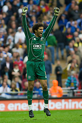 LONDON, ENGLAND - Saturday, May 17, 2008: Portsmouth's goalkeeper David James celebrates winning the cup after beating Cardiff City 1-0 during the FA Cup Final at Wembley Stadium. (Photo by Chris Ratcliffe/Propaganda)
