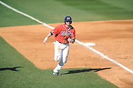 Ole Miss' Preston Overbey (1) scores vs. Rhode Island at Oxford-University Stadium in Oxford, Miss. on Sunday, February 24, 2013. Ole Miss won 5-3 to improve to 7-0.