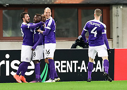 03.11.2016, Ernst Happel Stadion, Wien, AUT, UEFA EL, FK Austria Wien vs AS Roma, Gruppe E, im Bild Torjubel Olarenwaju Kayode (FK Austria Wien), Christop Martschinko (FK Austria Wien), Felipe Augusto Rodrigues Pires (FK Austria Wien), Raphael Holzhauser (FK Austria Wien), Petar Filipovic (FK Austria Wien) // during a UEFA Europa League group E match between FK Austria Vienna and AS Roma at the Ernst Happel Stadion, Vienna, Austria on 2016/11/03. EXPA Pictures © 2016, PhotoCredit: EXPA/ Alexander Forst