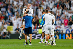 Goalscorer Gareth Bale of Real Madrid celebrates after Real Madrid win 1-0 to progress for the Champions League Final - Mandatory byline: Rogan Thomson/JMP - 04/05/2016 - FOOTBALL - Santiago Bernabeu Stadium - Madrid, Spain - Real Madrid v Manchester City - UEFA Champions League Semi Finals: Second Leg.