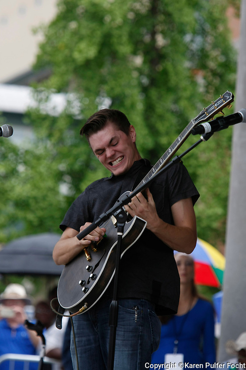 """Will Tucker plays at a tribute for blues musician B.B. King is held in W.C. Handy Park Wednesday, May 27, 2015, in Memphis, Tenn. King died May 14 in Las Vegas. He was 89. W.C. Handy is known as the """"Father of the Blues."""""""