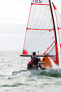 Miami, FL, USA, January 4, 2014 - The team of Casper Ladefoget and Harry Schmidt of th eRoyal Danish YAcht Club round the windward makr at the 29er Nationals held at Coconut Grove Sailing Club, Jan 1-4, 2013.