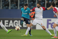 November 23, 2017 - Russia - forward Sebastian Driussi of FC Zenit and defender Boban Grncharov of FC Vardar during UEFA Europa League Football match Zenit - Vardar. Saint Petersburg, November 23,2017 (Credit Image: © Anatoliy Medved/Pacific Press via ZUMA Wire)