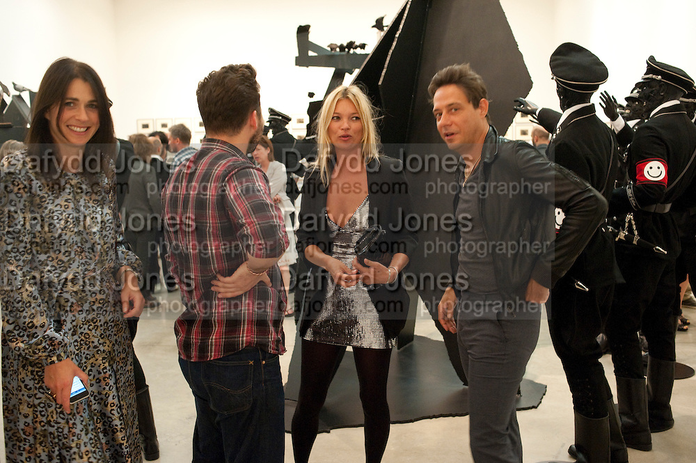 EMILY SHEFFIELD; KATE MOSS; JAMIE HINCE, Jake or Dinos Chapman, White Cube, Mason's Yard and afterwards at The Tab Centre, Austin Street, London E2. 14 July 2011. <br /> <br />  , -DO NOT ARCHIVE-© Copyright Photograph by Dafydd Jones. 248 Clapham Rd. London SW9 0PZ. Tel 0207 820 0771. www.dafjones.com.