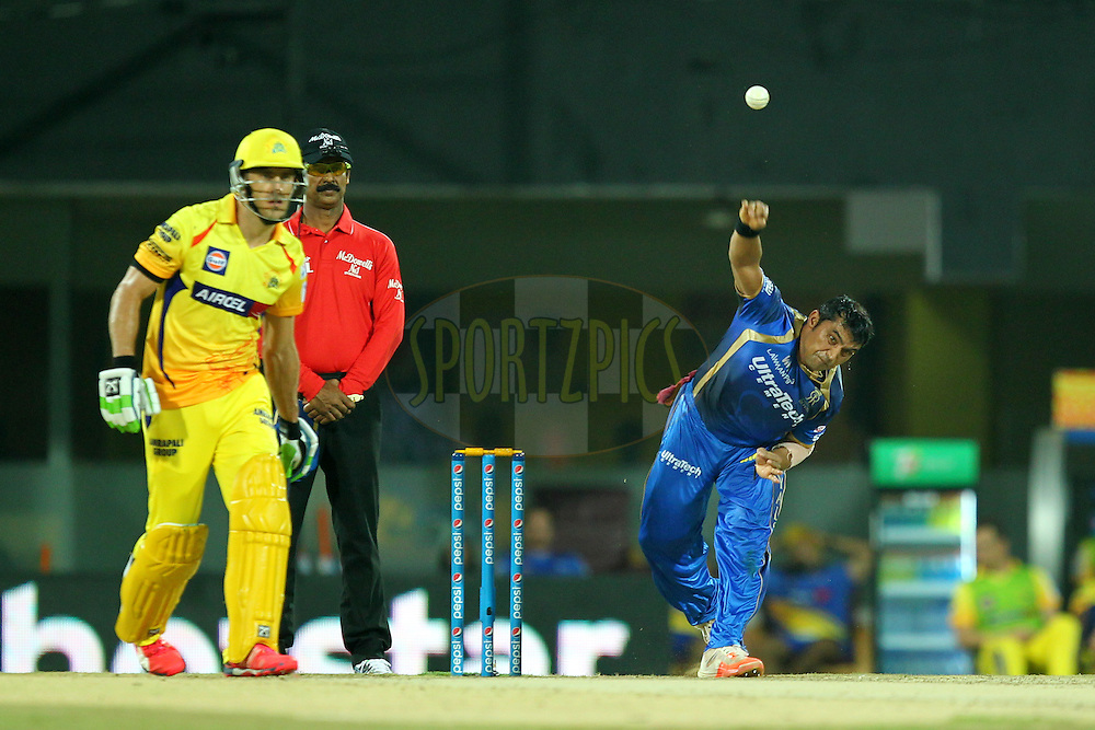 Pravin Tambe of Rajasthan Royals bowls during match 47 of the Pepsi IPL 2015 (Indian Premier League) between The Chennai Superkings and The Rajasthan Royals held at the M. A. Chidambaram Stadium, Chennai Stadium in Chennai, India on the 10th May 2015.Photo by:  Prashant Bhoot / SPORTZPICS / IPL