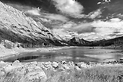 Black and white landscape photographs of Medicine Lake, AB, Canada