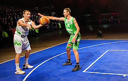 Samo Udrih vs Slavko Duscak during FIBA Europe Eurobasket 2013 draw ceremony on November 18, 2012 in Postojna cave, Postojna, Slovenia. (Photo By Vid Ponikvar / Sportida)