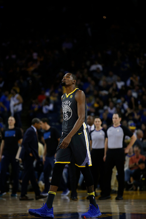 Golden State Warriors forward Kevin Durant (35) during the second half of an NBA game between the Warriors and Oklahoma City Thunder at Oracle Arena, Tuesday, Feb. 6, 2018, in Oakland, Calif. The Warriors lost 105-125.
