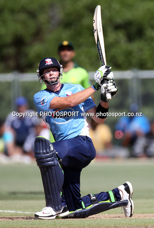 Auckland's Martin Guptil batting. Twenty20 Cricket, Auckland Aces v Pakistan, Colin Maiden Park, Auckland. Thursday 23 December 2010.Photo: Andrew Cornaga/photosport.co.nz