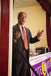 @Licensed to London News Pictures 26/08/2014. Nigel Farage MEP waits to see if he will be elected to represent his party UKIP in Thanet South in Kent. The Thanet South hustings to select the Prospective Parliamentary Candidate for the constituency takes place in Ramsgate, UK.Photo credit: Manu Palomeque/LNP