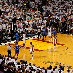 Jun 19, 2012; Miami, FL, USA; during the fourth quarter in game four in the 2012 NBA Finals at the American Airlines Arena. Miami won 104-98. Mandatory Credit: Derick E. Hingle-US PRESSWIRE