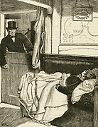 'Dread of Hydrophobia (Rabies): Anxious father hurry to his young son who has been bitten by a mad dog.  The boy's wound has already been cauterized with a red-hot skewer. Engraving, 1873.'