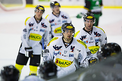 19.10.2012. Hala Tivoli, Ljubljana, SLO, EBEL, HDD Telemach Olimpija Ljubljana vs Dornbirner Eishockey Club, 13. Runde, in picture players of Dornbirner Eishockey Club celebrate after scoring a game winning goal during the Erste Bank Icehockey League 13th Round match betweeen HDD Telemach Olimpija Ljubljana and Dornbirner Eishockey Club at the Hala Tivoli, Ljubljana, Slovenia on 2012/10/19. (Photo By Matic Klansek Velej / Sportida)