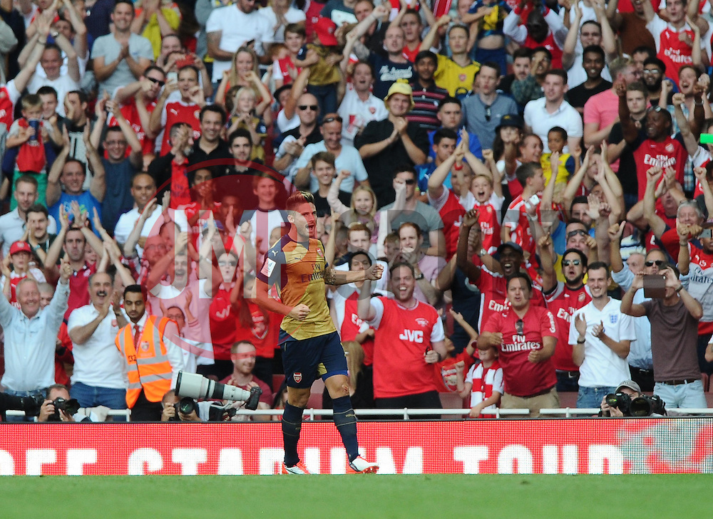 Olivier Giroud of Arsenal celebrates  - Mandatory by-line: Joe Meredith/JMP - 25/07/2015 - SPORT - FOOTBALL - London,England - Emirates Stadium - Arsenal v Lyon - Emirates Cup