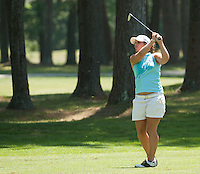 Valentine Derrey starts play at the LPGA Futures Tour Thursday afternoon at Beaver Meadow Golf Course.  (Karen Bobotas/for the Concord Monitor)